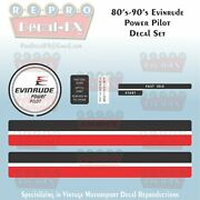 80and039s-90and039s Evinrude Power Pilot Control Binnacle Repro Marine Vinyl 6pc Decals