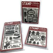 Lot Of 3 Sets American Crafts Christmas Clear Stamps