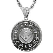 Menand039s Large 925 Sterling Silver Masonic Mason Pride Flag Medal Pendant Necklace