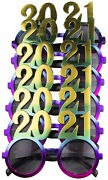 6 Pack Of 2021 New Years Eve Party Glasses Rainbow Metallic