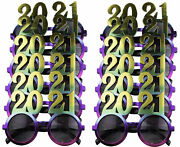 12 Pack Of 2021 New Years Eve Party Glasses Rainbow Metallic
