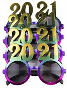 4 Pack Of 2021 New Years Eve Party Glasses Rainbow Metallic
