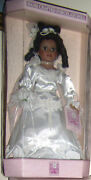 Vintage Rare Porcelain Collectible Bride White Dress Hand Crafted Black Doll