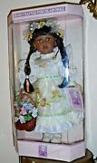Vintage Porcelain Victorian African American White Yellow Ebroidered Dress Doll