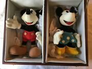 70th Anniversary 10andrdquo Steiff Mickey And Minnie Mouse In Wooden Collectors Box