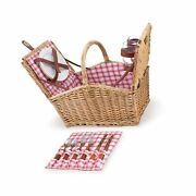 Picnic Time Piccadilly Willow Picnic Basket For Two People, With Plates, Wine...