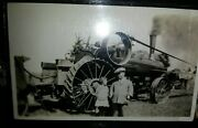 1800s Farm Steam Engine Tractor Horse Bandw Little Person Holding Hand Of Kid Rare