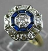 Antique Large .90ct Old Mine Diamond And Aaa Sapphire 14k Two Tone Gold Ring 23773