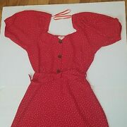 Red Dress White Dots Casual Vintage Stile Size M