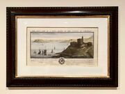Antique 1729 Framed Trowbridge Print The South East View Of Warwick Castle