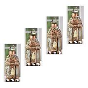 4 Pc Lot Copper Moroccan Candle Lamp Iron Glass Panels Hinged Door Easy Access