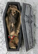 N27 Taxidermy Real Bat And Resin Coffin Display Oddities Curiosities Collectible