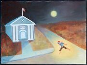 David Schwab Hiding From Justice Oil On Canvas Signed L.l