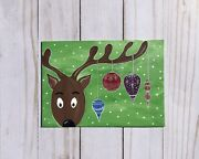 5x7 Original Acrylic Painting Reindeer With Ornaments Christmas Holiday Canvas