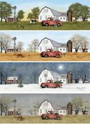 Billy Jacobs 4 Seasons On The Farm Cow Old Truck 4 Prints Posters