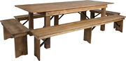 Hercules Series 8and039 X 40and039and039 Antique Rustic Folding Farm Table And Four Bench Set