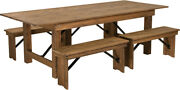 8and039 X 40and039and039 Antique Rustic Folding Farm Table And Four 40.25l Bench Set