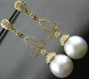 Large 1.04ct Diamond And Aaa South Sea Pearl 18kt Yellow Gold 3d Hanging Earrings