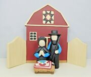 Amish Nativity With A Manger And Barn - New By Blossom Bucket 12194