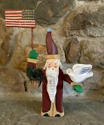 """Hand Carved Wooden Santa Claus Doveflag Moveable Arms 15"""" Tall Primitive Style"""