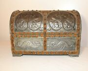 Rare Antique 1916 Handmade Tooled Tole Wood Velour Dome Top Box Trunk Casket