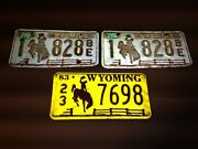 Wyoming License Plate Lot Vintage 1979 And 1983 3 Plates Automobile Collectibles