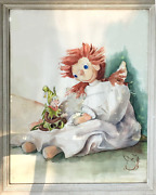D.p. Nelson Raggedy Ann And Wood Elf Watercolor On Paper Signed L.r.