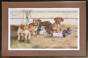Thompson Crowe, Decoy Ducks And Puppies, Offset Lithograph, Signed And Numbered