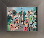 Charles Cobelle, Place Vendôme With Fountain, Acrylic On Canvas, Signed L.r.
