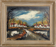 Roger Etienne Road To Village Gouache On Paper Signed L.r.