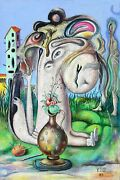 Yuri V. Ivanov Surrealist Portrait In A Garden Oil On Canvas Signed And Dated