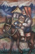 Unknown Artist Girl And Boy On Donkey Pastel On Paper Signed Lower Right And039ega