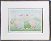 Ivan Rabuzin Four Houses In The Clouds Watercolor On Paper Signed