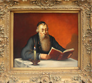 Abraham Straski, Rabbi Reading By Candlelight 9-f, Oil On Canvas, Signed And D