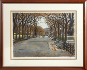 Unknown Artist Central Park In The Fall Watercolor On Paper Signed
