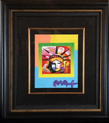 Peter Max Liberty Head Ii On Blends Acrylic And Mixed Media On Lithograph Sig