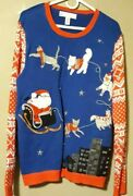 Jolly Sweaters Xl 46-48 Multi-color Santa/cats Light Up Ugly Christmas Sweater