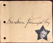 Barbara Stanwyck Autographed Signed Vintage 1930s Album Page Double Indemnity