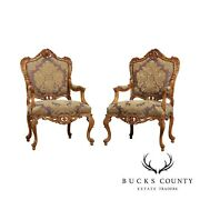 Italian Rococo Style Fine Quality Pair Carved Armchairs