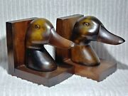 Vintage Wooden Duck Head Bookends Decoy Book Library Realistic Eyes Mid Century