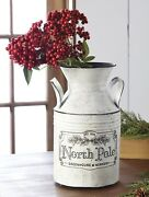 Raz Imports North Pole Greenhouse Container Milk Can - 12 Tall
