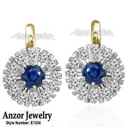 14k Solid Yellow And White Gold Sapphire And Diamond Russian Style Earrings E1334.