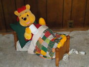Vintage Disney Christmas Winnie The Pooh In Bed Animated Musical Motionette