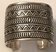 Sunshine Reeves Navajo Native American Open Cuff Heavy Sterling Bracelet 2andrdquo Wide