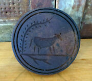 Farmhouse Grubby Primitive Wooden Cow Bull Butter Mold Stamp Press