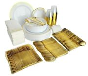 400 Piece Gold Plastic Disposable Dinnerware Set And Plates For 50 Party Guests