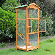 Wooden Large Bird Cage 65and034 Pet Play Covered House Ladder Feeder Stand Outdo