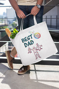 Best Dad Artwork On Canvas Merchant Tote Bags With Custom Logo