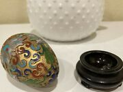 Two Vintage Cloisonne Eggs With Stands