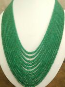 Natural Colombian Emerald Smooth 2-7 Mm Rondelle Stone Beads 24 Necklace